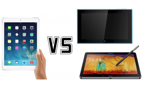 Apple iPad Air vs.  Samsung Galaxy Note 10.1 vs. Nokia Lumia 2520