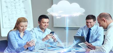 business, people, cloud computing and technology concept - smili